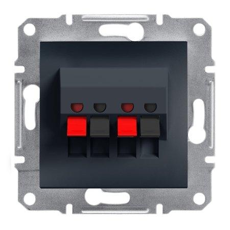 Dvojitá reproduktorová zásuvka bez rámečku, antracit Schneider Electric Asfora EPH5700171