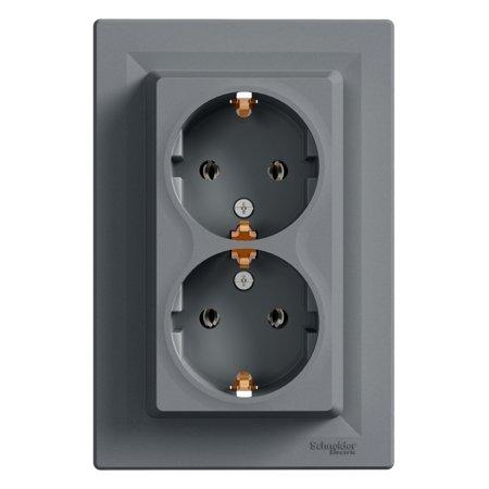 Dvojitá zásuvka SCHUKO, ocel Schneider Electric Asfora EPH9900162