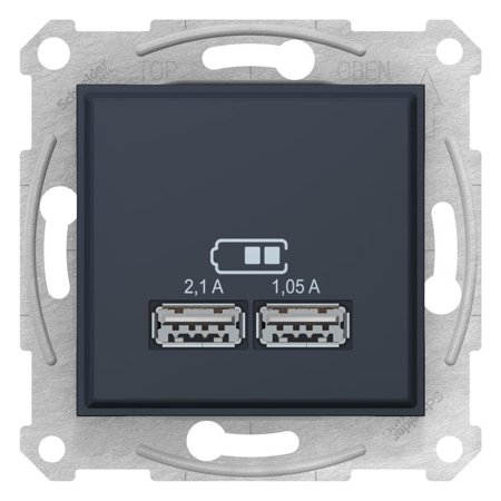 Dvojitá zásuvka nabíječky USB grafitová Sedna SDN2710270 Schneider Electric