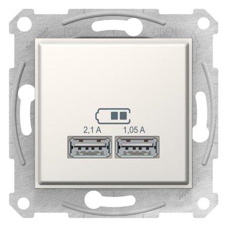 Dvojitá zásuvka nabíječky USB krémová Sedna SDN2710223 Schneider Electric