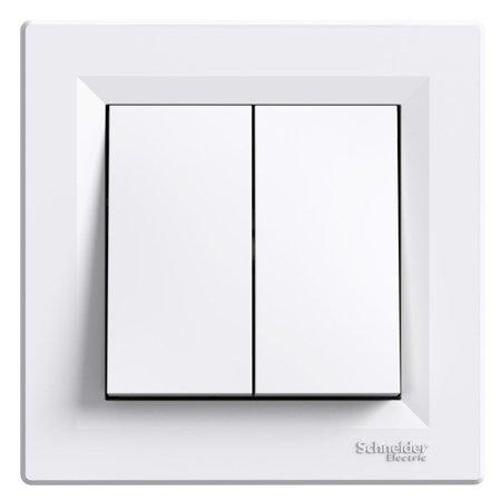 Dvojité tlačítko s rámečkem, bílá Schneider Electric Asfora EPH1100121