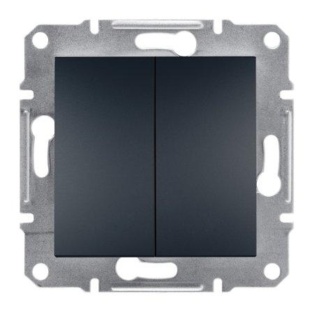 Dvojité tlačítko šroubové svorky bez rámečku, antracit Schneider Electric Asfora EPH1100371