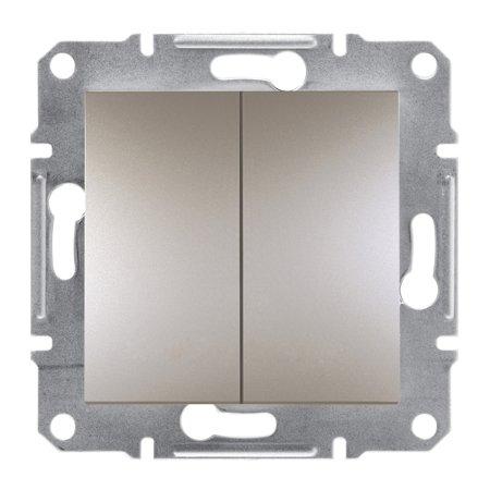 Dvojité tlačítko šroubové svorky bez rámečku, hnědá Schneider Electric Asfora EPH1100369