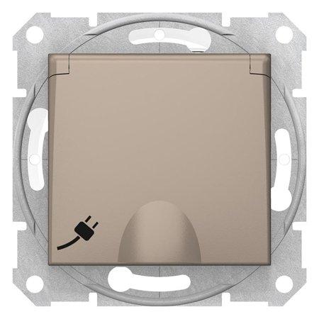 Jednoduchá zásuvka 2P+PE s clonami a krytem, IP44 saténová Sedna SDN2800368 Schneider Electric