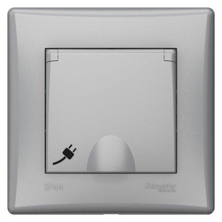 Jednoduchá zásuvka 2P+PE s krytem a rámečkem hliník IP44 Sedna SDN2890360 Schneider Electric