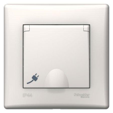 Jednoduchá zásuvka 2P+PE s krytem a rámečkem krémová IP44 Sedna SDN2890323 Schneider Electric