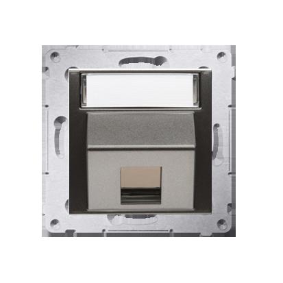 Kontakt Simon 54 Premium Antracit Telekomunikační kryt zásuvky na Keystone šikmý jednonásobný s popisovým pólem DKP1S.01/48