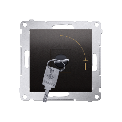 "Kontakt Simon 54 Premium Antracit Vypínač na klíč jednonásobný 2 pol. ""0-I"" spínač N/O vyt. klíče v každé pozici, DW1K.01/48"