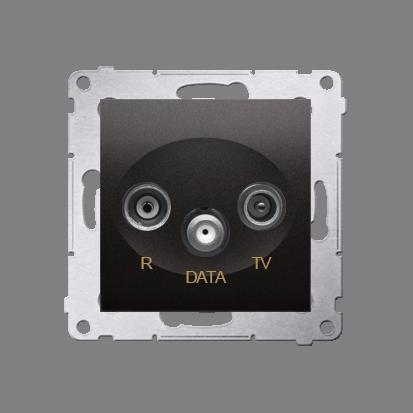 Kontakt Simon 54 Premium Antracit Zásuvka TV-DATA. Dva výstupy 'F' 5-1000 MHz, DAD1.01/48