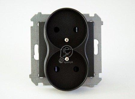 Kontakt Simon 54 Premium Antracit Zásuvka dvojitá s uzemněním s clonou šroubové koncovky, DGZ2MZ.01/48