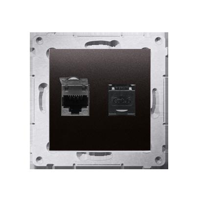 Kontakt Simon 54 Premium Antracit Zásuvka počítačová dvojitá RJ45 kat. 6, se zaklapávací krytkou D62.01/48