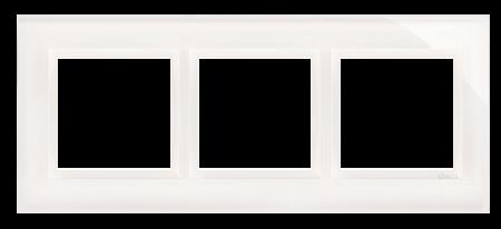 Kontakt Simon 54 Premium Bílá Perla - sklo Rámeček 3-násobný Nature DRN3/70