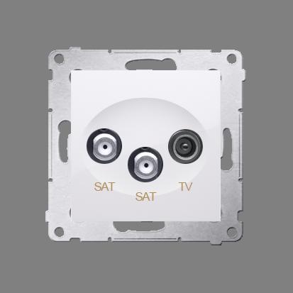Kontakt Simon 54 Premium Bílý Anténní zásuvka satelitní dvojitá SAT-SAT-elektro (modul), DASK2.01/11