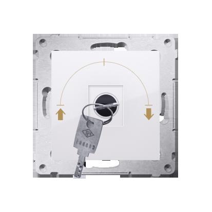 """Kontakt Simon 54 Premium Bílý Vypínač žaluzii na klíč dočasný 3 pol. """"I-0-II, 2 spínače N/O vyt. klíče v pozici 0, DPZK.01/11"""