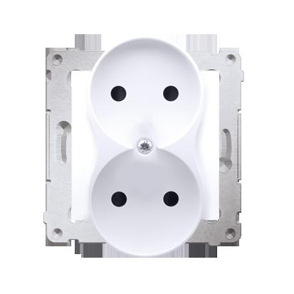 Kontakt Simon 54 Premium Bílý Zásuvka bez uz. s clonou dvojitá pro rámečky NATURE šroubové koncovky, DG2MZN.01/11