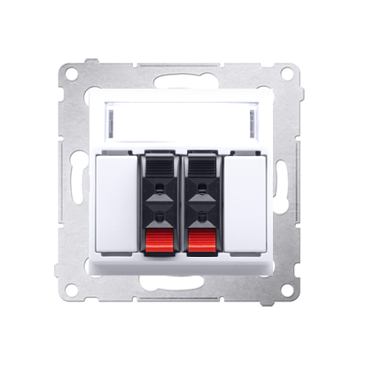 Kontakt Simon 54 Premium Bílý reproduktorová zásuvka 2-násobná s popisovým polem (modul) DGL32.01/11