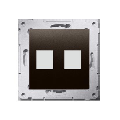 Kontakt Simon 54 Premium Hnědá, matný Telekomunikační kryt zásuvky na Keystone plochá dvojnásobný (modul), DKP2.01/46