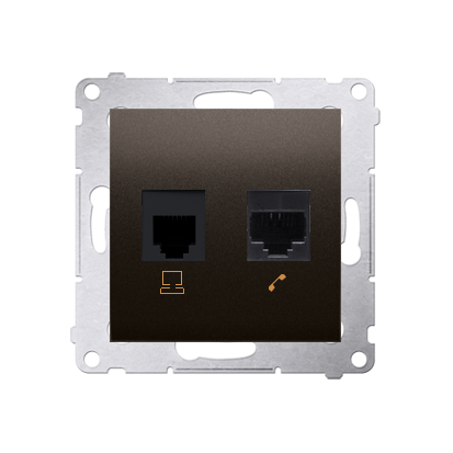 Kontakt Simon 54 Premium Hnědá, matný Zásuvka počítačová RJ45 kat. 5e + telefónní RJ12 (modul), D5T.01/46