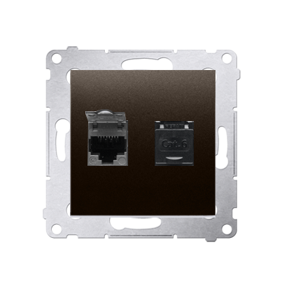 Kontakt Simon 54 Premium Hnědá, matný Zásuvka počítačová dvojitá RJ45 kat. 6, se zaklapávací krytkou D62.01/46
