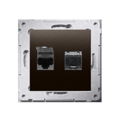 Kontakt Simon 54 Premium Hnědá, matný Zásuvka počítačová dvojitá RJ45 kat. 6 stíněné se zaklapávací krytkou D62E.01/46