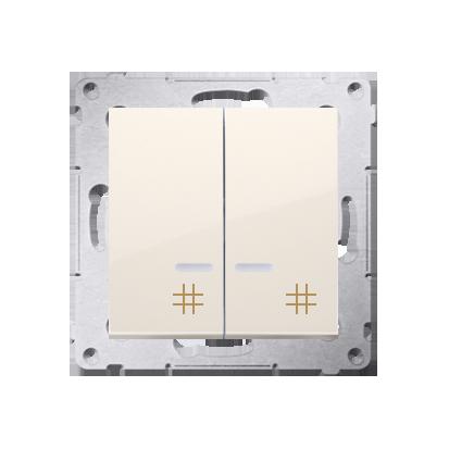 Kontakt Simon 54 Premium Krémová Vypínač křížový dvojnásobný s podsvícením (modul) 10 AX rychlospojka, DW7/2L.01/41