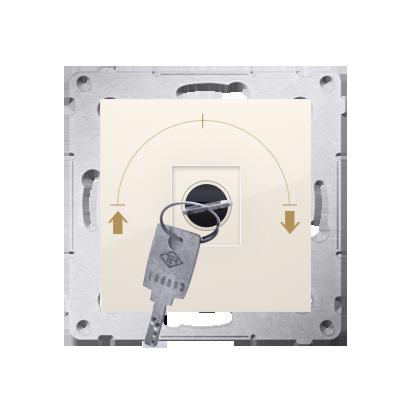 """Kontakt Simon 54 Premium Krémová Vypínač žaluzii na klíč 1-běh. 3 poz """"I-0-II, 2 spínače N/O vyt. klíče v každé pozici DWZK.01/41"""