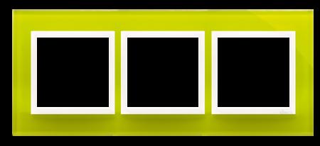 Kontakt Simon 54 Premium Limonkový Sorbet - sklo Rámeček 3-násobný Nature DRN3/90