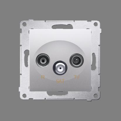 Kontakt Simon 54 Premium Stříbrná Anténní zásuvka R-TV-SAT průběžná (modul), DASP.01/43