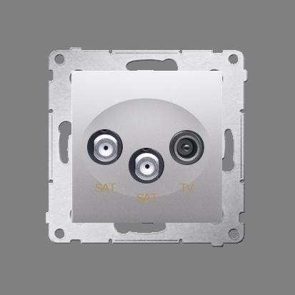 Kontakt Simon 54 Premium Stříbrná Anténní zásuvka satelitní dvojitá SAT-SAT-elektro (modul), DASK2.01/43