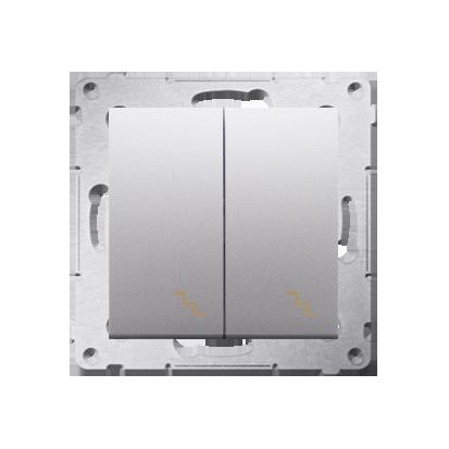 Kontakt Simon 54 Premium Stříbrná Vypínač schodišťový dvojnásobný s podsvícením (modul) šroubové koncovky, DW6/2L.01/43