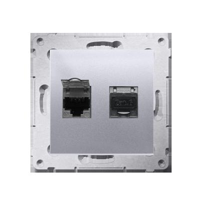 Kontakt Simon 54 Premium Stříbrná Zásuvka počítačová dvojitá RJ45 kat. 6 stíněné se zaklapávací krytkou D62E.01/43