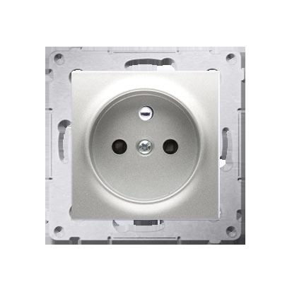Kontakt Simon 54 Premium Stříbrná Zásuvka s uzemněním a clonami rychlospojka, DGZ1CZ.01/43