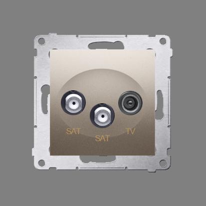Kontakt Simon 54 Premium Zlatá Anténní zásuvka satelitní dvojitá SAT-SAT-elektro (modul), DASK2.01/44