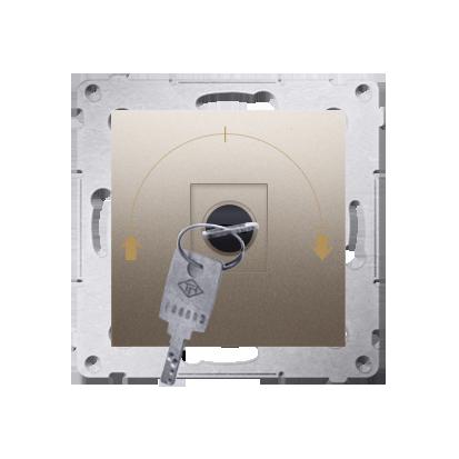 """Kontakt Simon 54 Premium Zlatá Vypínač žaluzii na klíč 1-běh. 3 poz """"I-0-II, 2 spínače N/O vyt. klíče v každé pozici DWZK.01/44"""