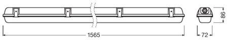 Lineární LED svítidlo 1500 1xLamp IP65 DAMP PROOF HOUSING LEDVANCE