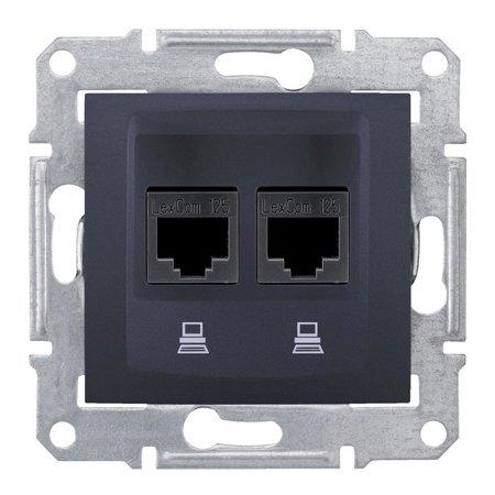 Počítačová dvojitá zásuvka kategorie 5e stíněná grafitová Sedna SDN4600170 Schneider Electric