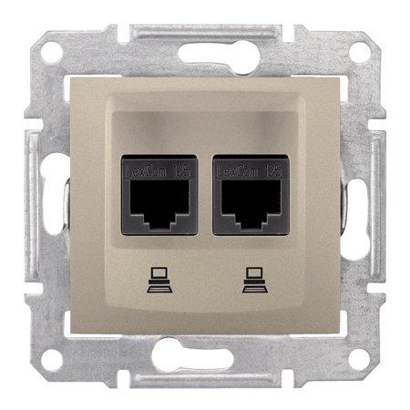 Počítačová dvojitá zásuvka kategorie 5e stíněná saténová Sedna SDN4600168 Schneider Electric