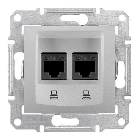 Počítačová dvojitá zásuvka kategorie 6 hliník Sedna SDN4800160 Schneider Electric