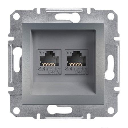 Počítačová zásuvka 2x kat.5e UTP bez rámečku, ocel Schneider Electric Asfora EPH4400162