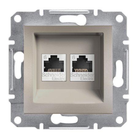 Počítačová zásuvka 2x kat.6 UTP bez rámečku, hnědá Schneider Electric Asfora EPH4800169