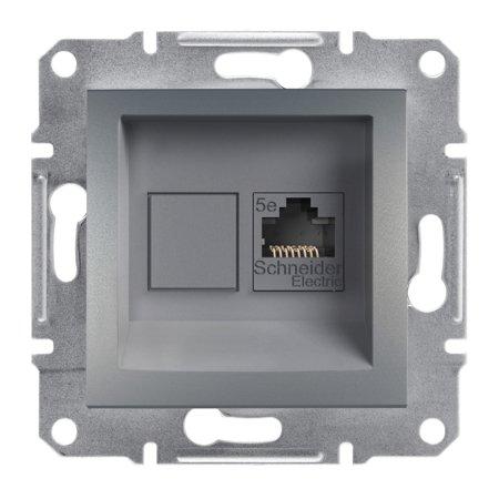 Počítačová zásuvka kat.5e UTP bez rámečku, ocel Schneider Electric Asfora EPH4300162
