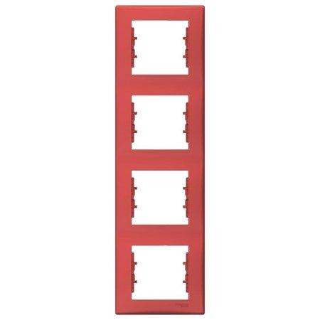 Rámeček 4-násobný svislý červená Sedna SDN5802041 Schneider Electric