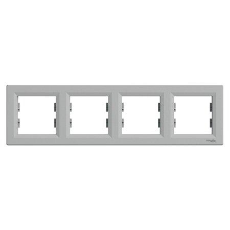 Rámeček 4-násobný vodorovný, hliník Schneider Electric Asfora EPH5800461