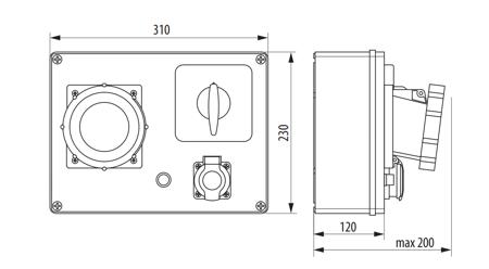 Rozváděč R-BOX 300 2x32A/5P, 6x250V vypínač 0/1 B.18.3169W Pawbol