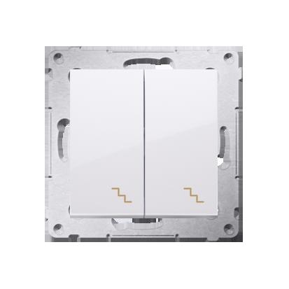 Simon 54 Premium Bílý Vypínač schodišťový dvojnásobný s podsvícením (modul) šroubové koncovky, DW6/2L.01/11