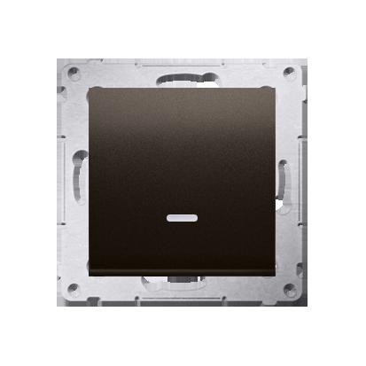 Simon 54 Premium Hnědá, matný Vypínač jednonásobný s podsvícením LED (modul) X šroubové koncovky, DW1AL.01/46