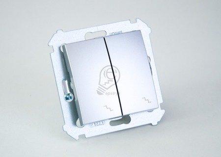Simon 54 Premium Stříbrná Vypínač schodišťový dvojnásobný (modul) šroubové koncovky, DW6/2.01/43