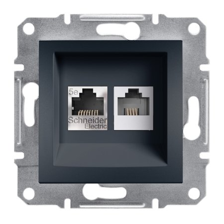 Telefonní a počítačová zásuvka kat5e UTP bez rámečku, antracit Schneider Electric Asfora EPH4900171