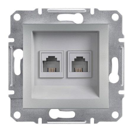 Telefonní dvojitá zásuvka bez rámečku, ocel Schneider Electric Asfora EPH4200162