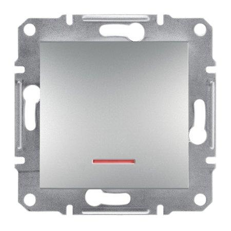 Tlačítko s podsvícením šroubové svorky bez rámečku, hliník Schneider Electric Asfora EPH1600361